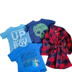 Boys clothing lot tees and bath robe size 4